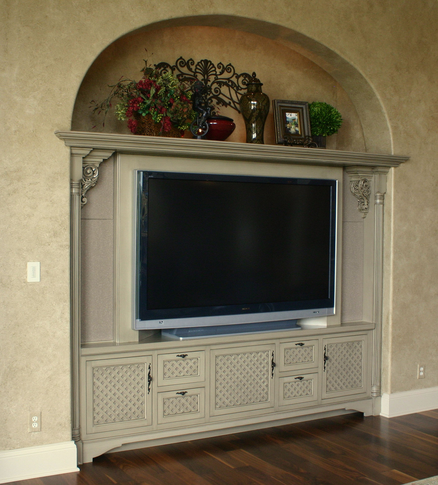 Bridgewater Entertainment center with Lattice Door Panels