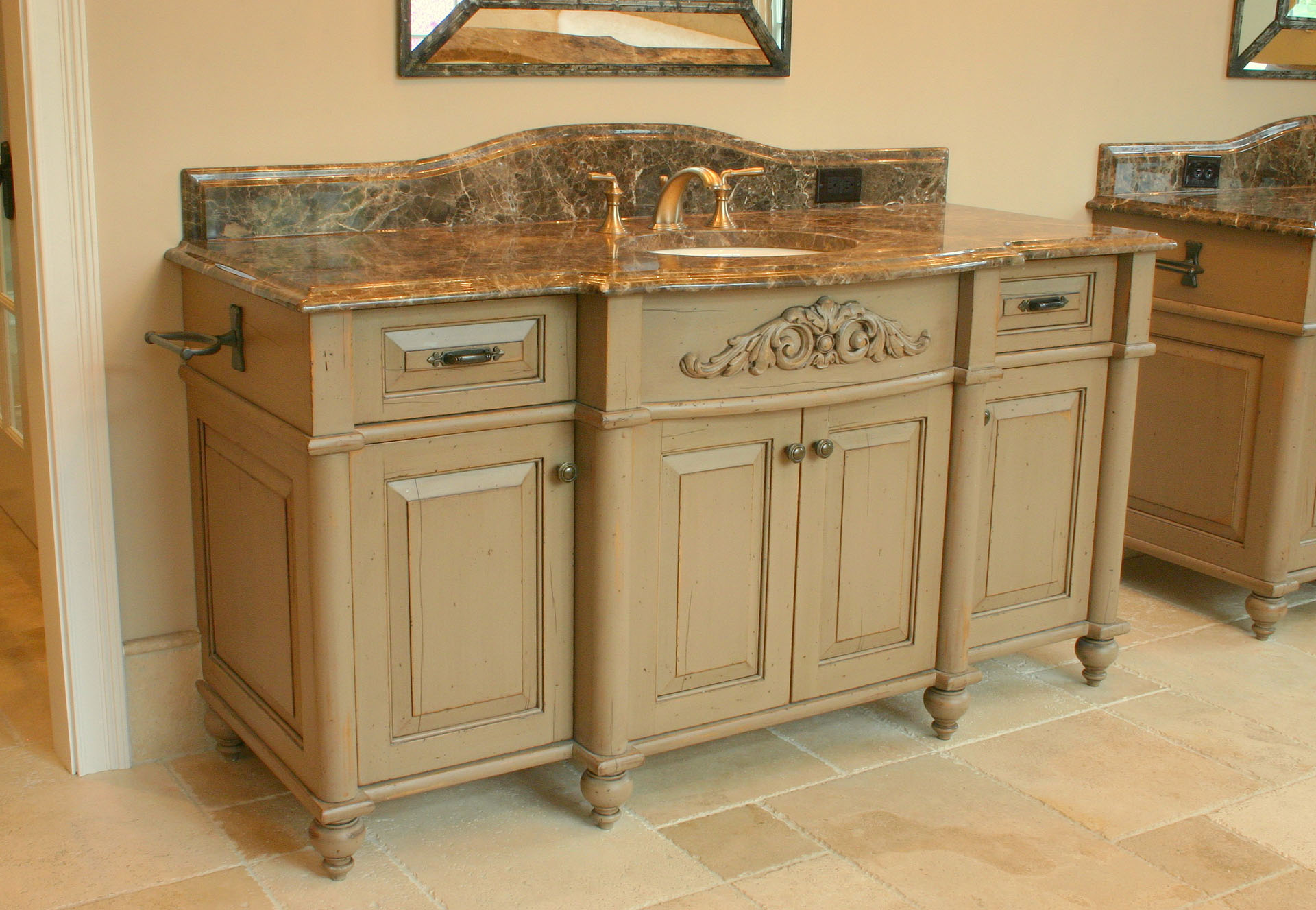 Clay Center Distressed Bow Front Vanity 1