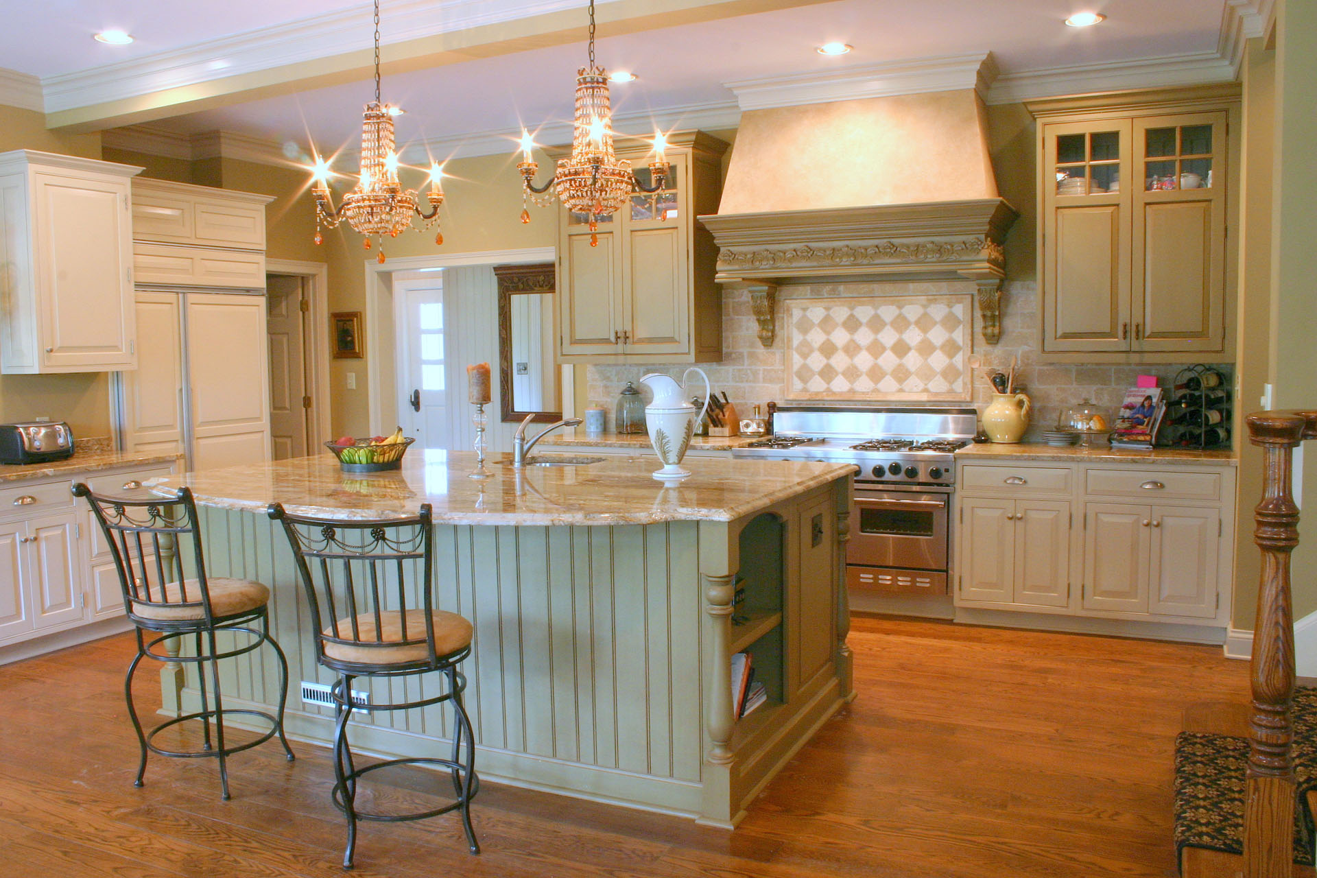 Clay Center Distressed Green Island and Range Hood