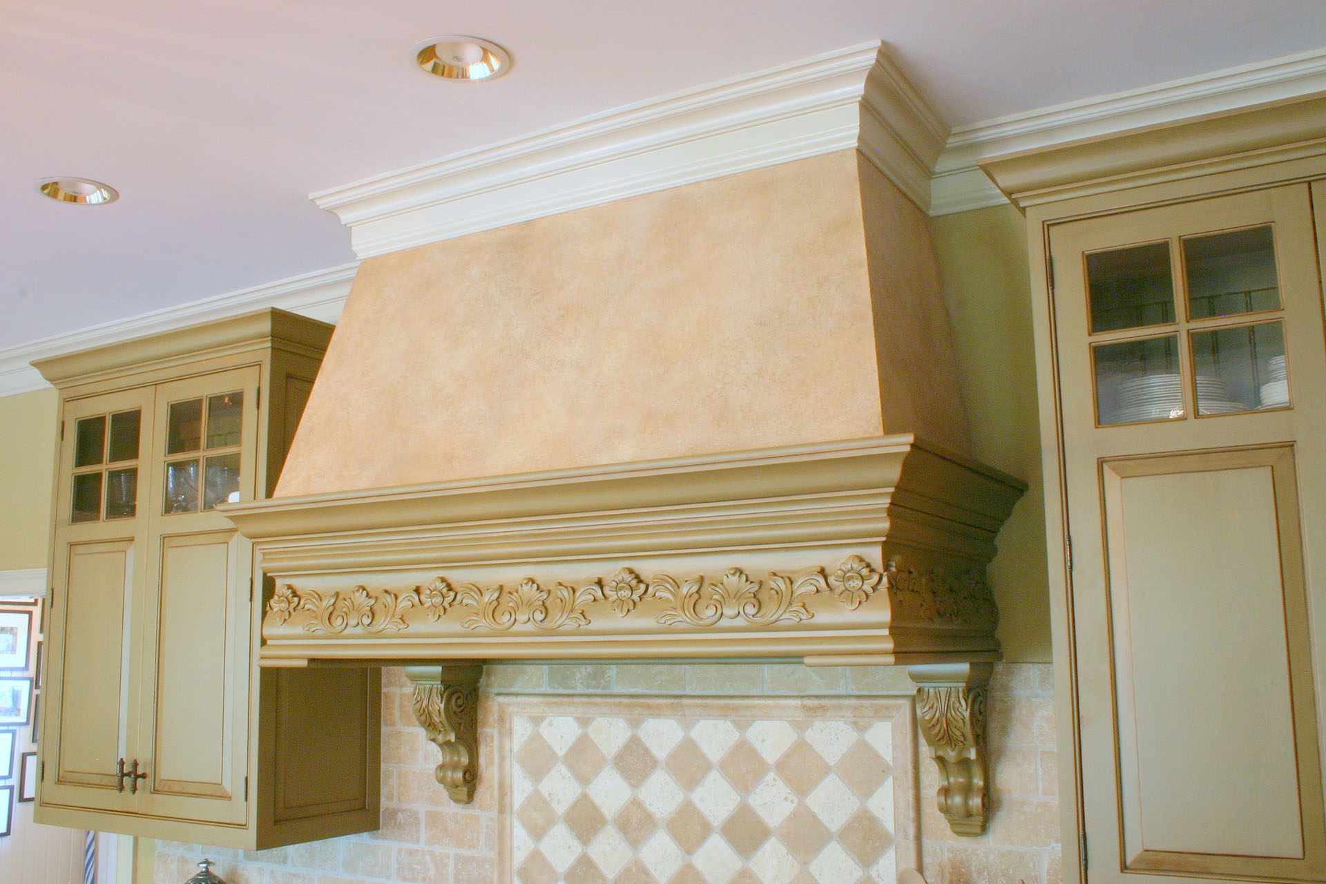 Clay Center Distressed Wood and Stucco Range Hood