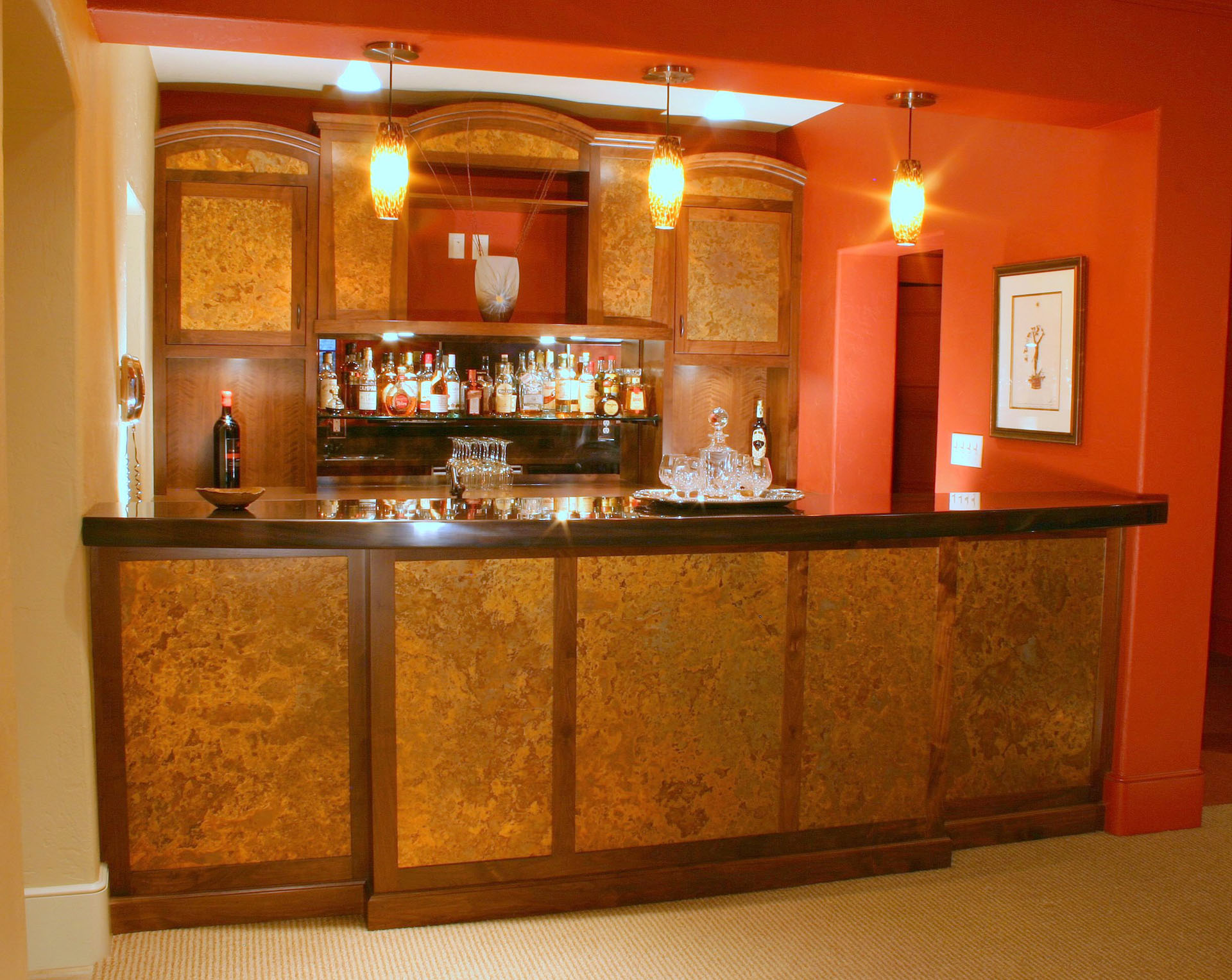 Limehouse Bar Walnut with Brass Panels Ebonized Mahogany Top