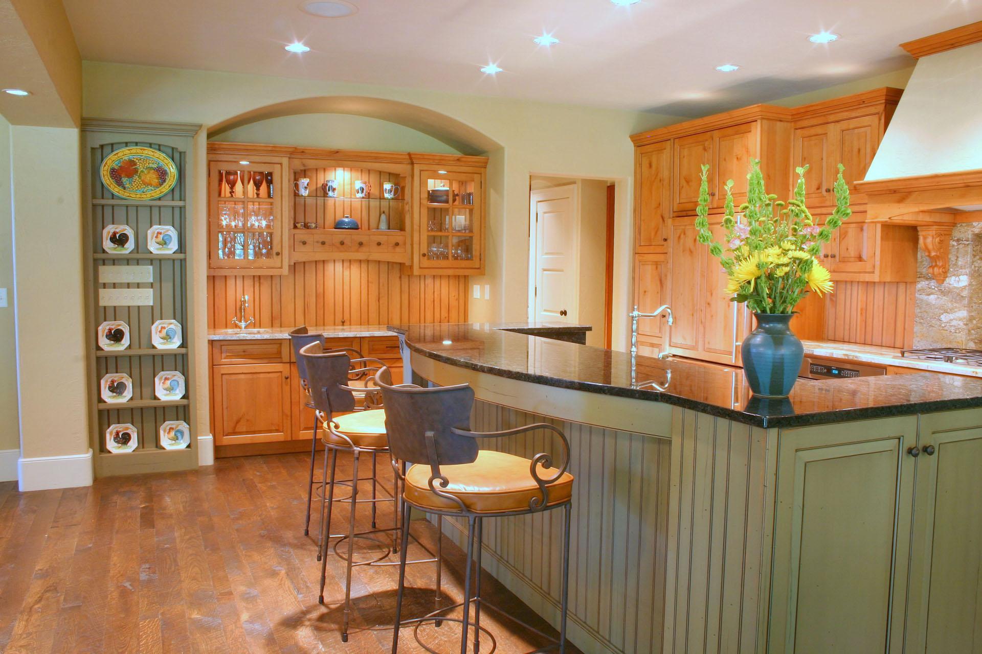 Limehouse Distressed Alder Kitchen Green Island