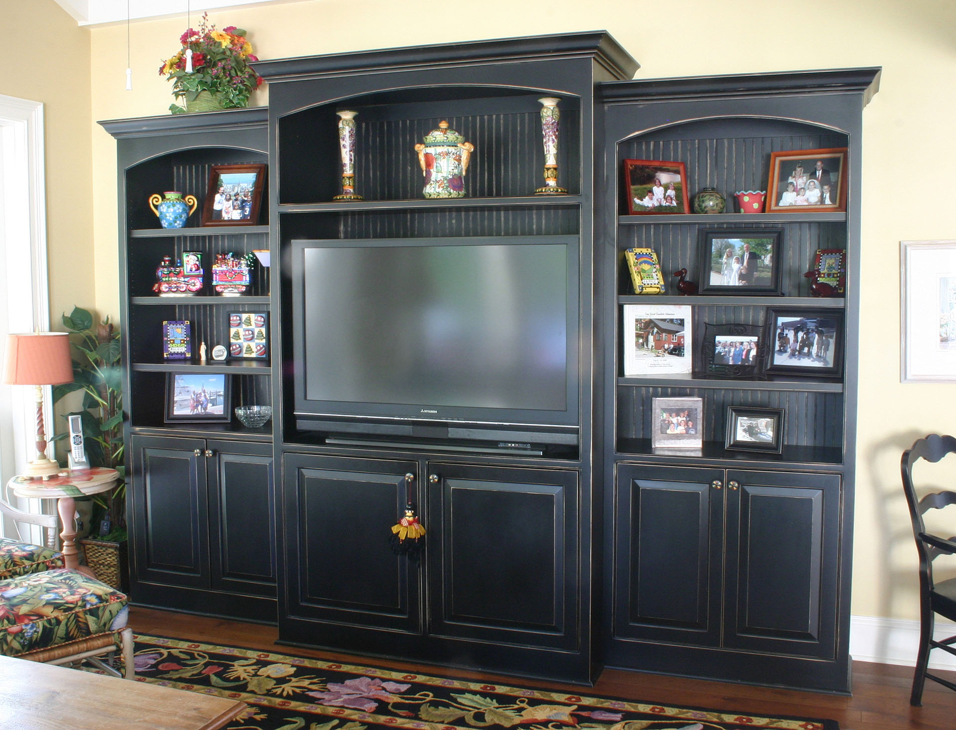 Penn Grove Distressed Black Entertainment Hutch