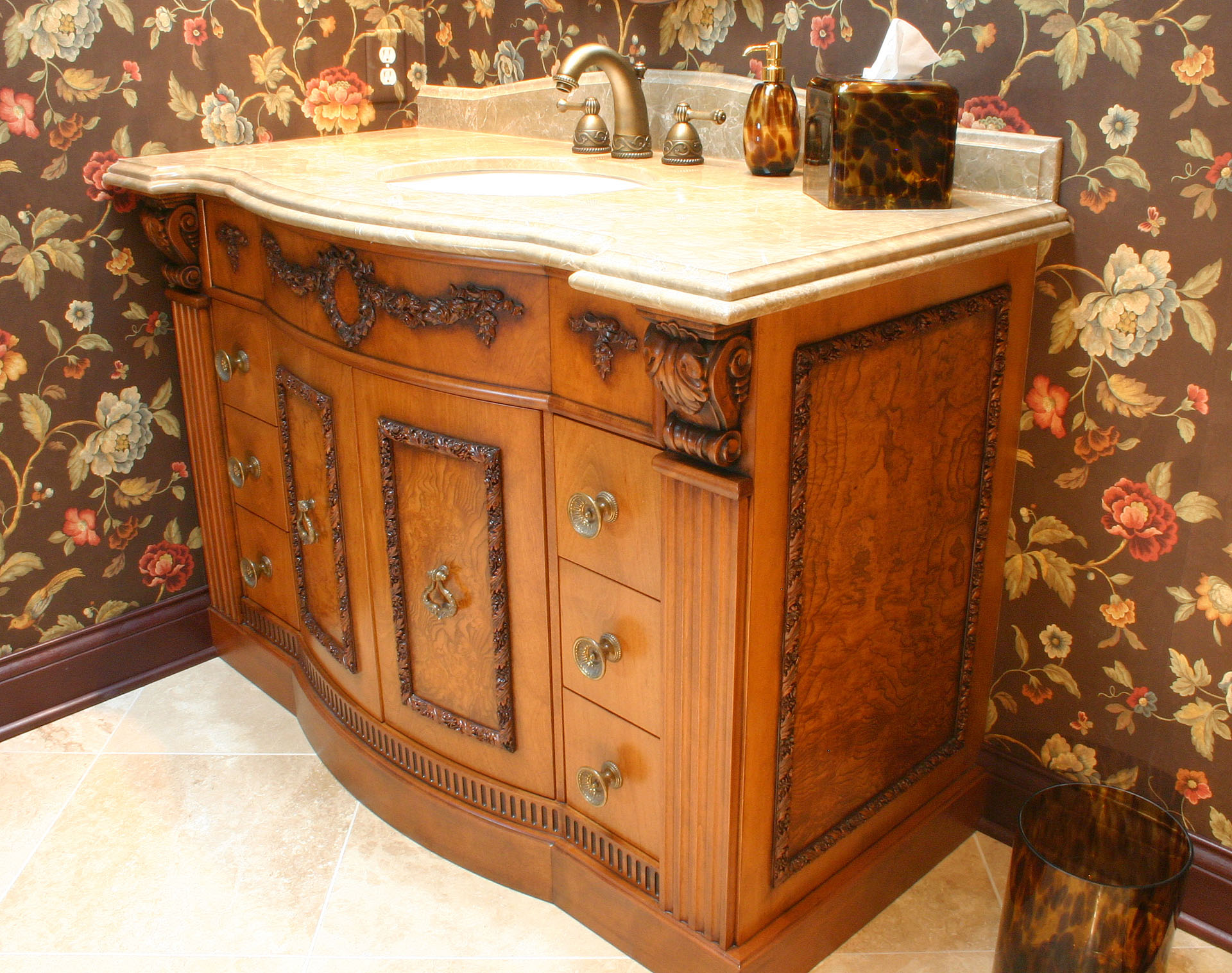 West Park Bow Front Vanity with Olive Ash Burl