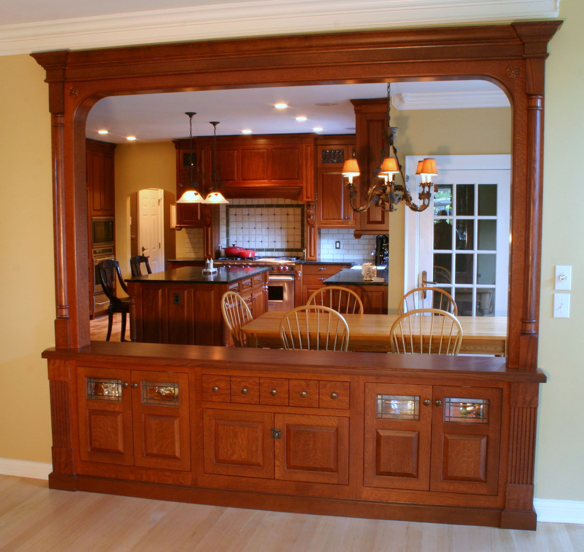Woodfield quarter-sawn white oak pass-through cabinetry